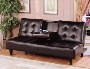 Espresso futon sofa bed with cupholder ( new) for Sale in San Mateo, CA