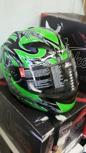 Kawasaki green size large motorcycle full face helmet for Sale in Los Angeles, CA
