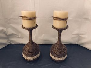Twine Wrapped Wine Glass Candle Holders for Sale in Riverton, UT