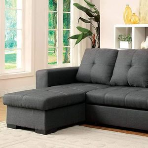 GRAY FABRIC REVERSIBLE CHAISE SECTIONAL SOFA BED / SILLON CAMA GRIS for Sale in Temecula, CA