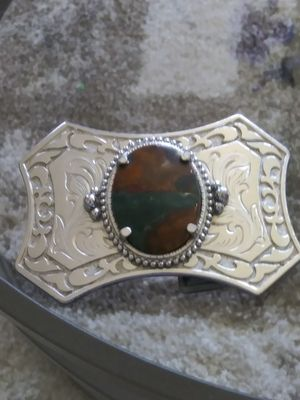 Sports & outdoors.....L@@K!! **BROWN AGATE STONE** BELT BUCKLE.nice. unisex.crome for Sale in Lincoln Acres, CA