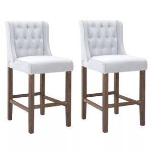2 Tufted Bar Stool Dining Chairs - White for Sale in Los Angeles, CA