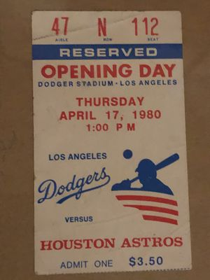 Framed Dodgers, 1980 opening day, reserved ticket stub. for Sale in Los Angeles, CA