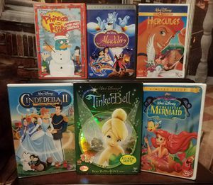 6 Disney DVDs The Little Mermaid Cinderella Tinkerbell Aladdin Hercules Phineas and Ferb DVD Kids Family Movie Lot for Sale in Tampa, FL
