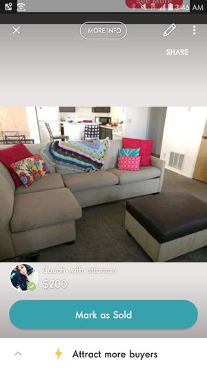 Couch fold out futon and ottoman for Sale in Salt Lake City, UT