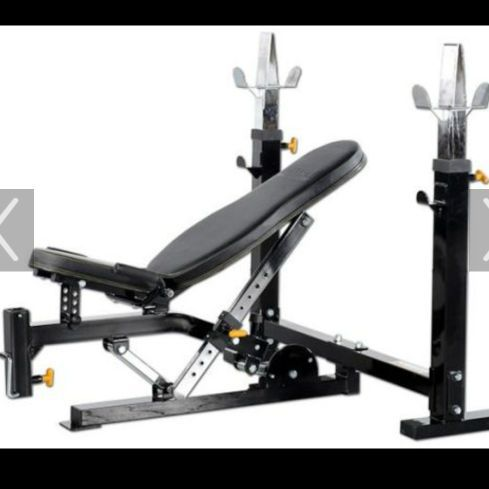 Cool Powertech Workbench Weightbench With Olympic Bar And Curl Bar And 225 Lbs Of Weight For Sale In Mountain Top Pa Offerup Beatyapartments Chair Design Images Beatyapartmentscom