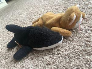 Nip the cat & Splash the orca whale Original Beanie Babies for Sale in Evesham Township, NJ