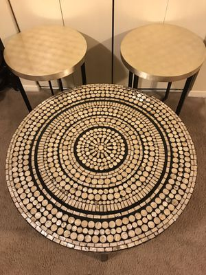 "3 pieces living room set large round mosaic coffee table 31""x18"" with 2 side tables 22""x20"" click on my profile picture choose my offers pick up in G for Sale in Gaithersburg, MD"