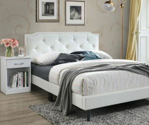 Black or white leather Queen bed with Organic Mattress for only $299 Both pc for Sale in Staten Island, NY
