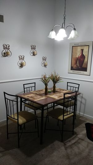 Entire Dinning Set... Freshly painted table... Newly covered chairs for Sale in Virginia Beach, VA