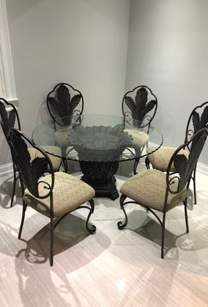 Cast Iron Breakfast Table with Glass Top and 6 Chairs for Sale in Naperville, IL