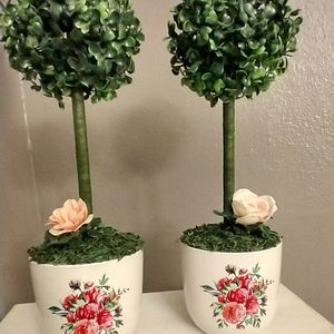 15 Inches Tall Artificial Topiary Trees Both For$20 for Sale in Houston, TX