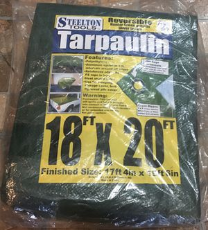 Steelton Tools 18x20 Reversible Tarp for Camping, Flatbed Trucks, Wood Cover - New! for Sale in Ellenwood, GA