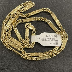 (709391-1) 14k Gold Cable And Plates Chain 18 Inch for Sale in Phoenix, AZ