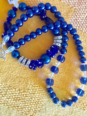 Love jewelry 💙 Fashion necklace with bracelet together 🦋💙🦋 Blue glass beads with Crystals / Visit for more gifts & jewelry & collectables 🦋 for Sale in Alexandria, VA