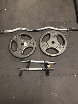 New 2x 25 lb 1 inch plates with dumbbell handles and curl bar for Sale in Carlstadt, NJ