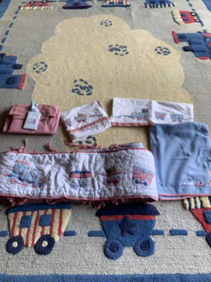 Pottery Barn Train Rug with matching baby room accessories for Sale in Los Angeles, CA