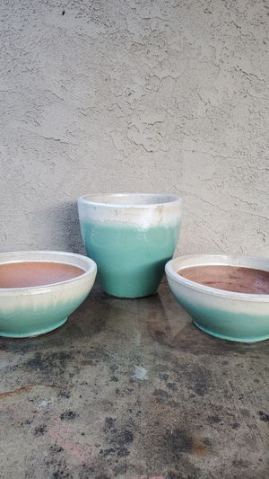 Glazed clay plant container teal and white (Matching Set) for Sale in Diamond Bar, CA