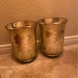 Gold Crackled Glass Pillar Candle Holder for Sale in Henderson,  NV