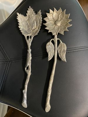 Vintage ornate sunflower salad fork and spoon for Sale in Knightdale, NC