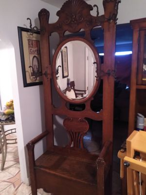 Antique chair with storage and coat rack for Sale in Boca Raton, FL