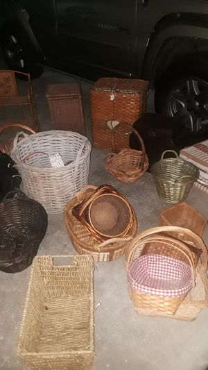 Wicker swivel bar stool,Wicker Baskets,2 leather briefcases, a bamboo/metal palm tree shelf for Sale in Zephyrhills, FL