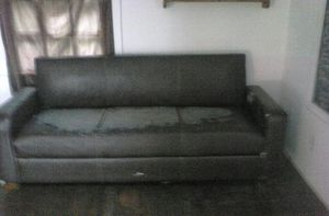 Brown faux leather futon for Sale in Toccoa, GA