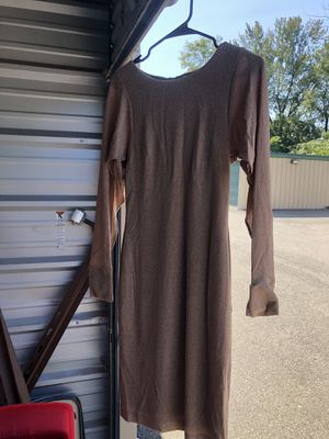 Long sleeve Calvin Klein dress, open sleeves, tannish gold color, size 2 for Sale in Glenshaw, PA