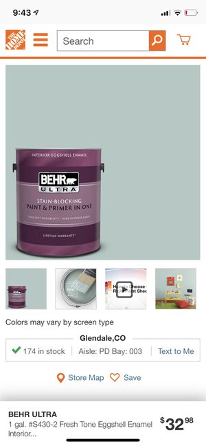 Behr Ultra interior Eggshell Enamel - Frësh Tone New for Sale in Denver, CO