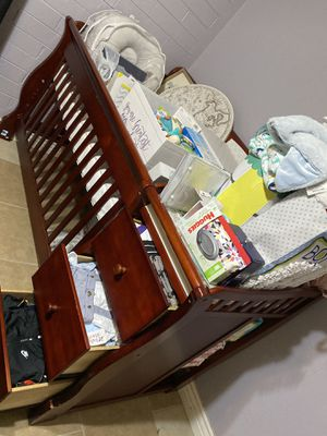 Wooden crib w/ changing table & storage for Sale in Phoenix, AZ