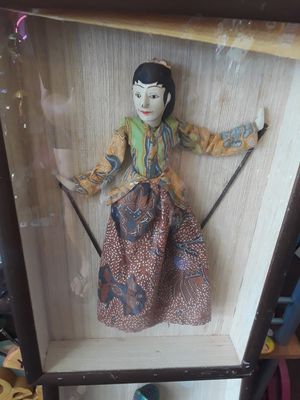 Cool pair of Balinese puppets under glass for Sale in Dunedin, FL