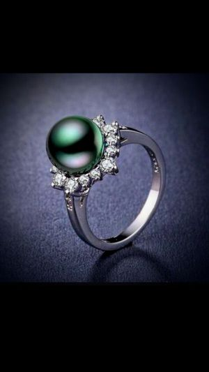 925 Black PeaRL 12mm DiaMoNd RiNg for Sale in Bountiful, UT