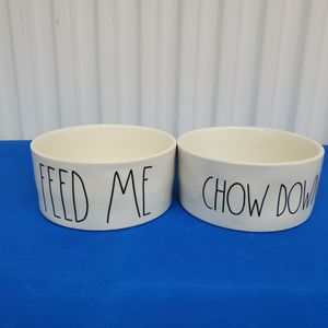 Dog/Cat Feeding Bowls RAE DUNN ARTISAN COLLECTION Dishwasher Safe Feed Me & Chow Down. Like New No Defects! Pick-Up In Person Or Shipped....... Fas for Sale in Lynnwood, WA