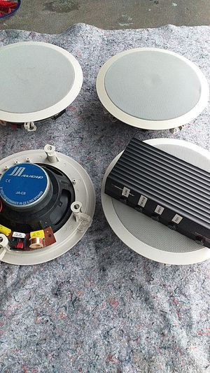 4 JA AUDIO (JA-C8) SPEAKERS and MONSTER CABLE SPEAKER SELECTOR/AMPLIFIER PROTECTION for Sale in Orlando, FL