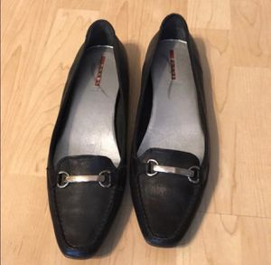 Prada Black Leather Shoes Flats Loafers Size 11 for Sale in Littleton, CO