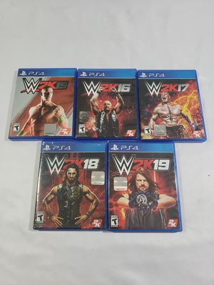 PS4 Lot of 5 Games lot/WW2K15,16,17,18,19/Playstation 4/wrestling/fast shipping for Sale in Winter Springs, FL