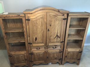 Wood Armoire/Wall Unit with bookshelves (3 pieces) for Sale in Miami, FL