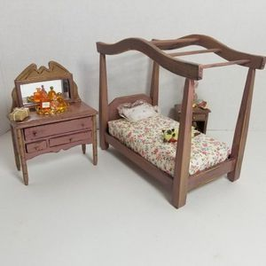 Dollhouse Miniature Bedroom Vintage Farm Style Furniture Pink Shabby Chic Set Accessories for Sale in Trabuco Canyon, CA