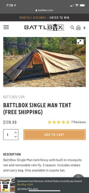 Backpacking tent one person for Sale in Gladstone, OR