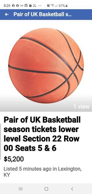 UK season 2019-20 section 22 row 00 seats 5 & 6 for Sale in Lexington, KY