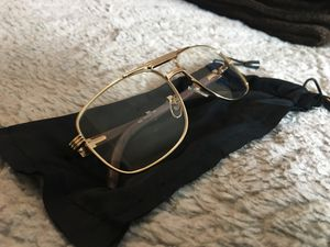 New Gold and Wood Cartier Sunglasses with Clear lenses for Sale in San Francisco, CA