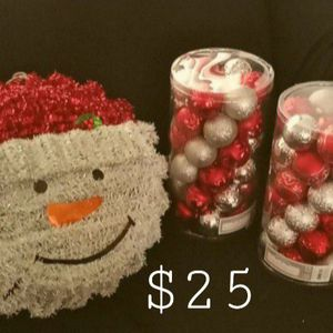 CHRISTMAS ORNAMENTS AND SNOWMAN WREATH NEW for Sale in Phoenix, AZ