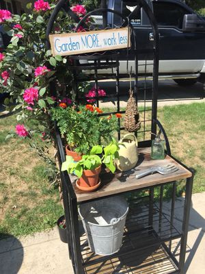 Gardening rack flowers and pots for Sale in Hilliard, OH