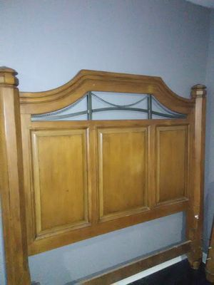 Solid wood bed frame with box spring for Sale in Taylor, MI