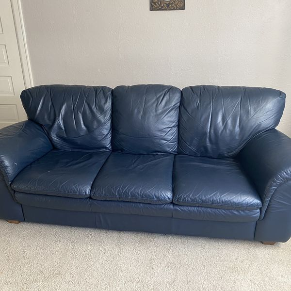 Beautiful Navy Blue Leather Couch - GREAT CONDITION