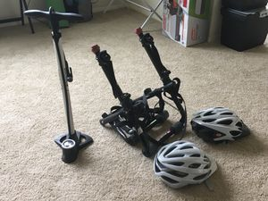 BIKE PUMP / DUAL CARRIER / TWO HELMETS for Sale in Silver Spring, MD