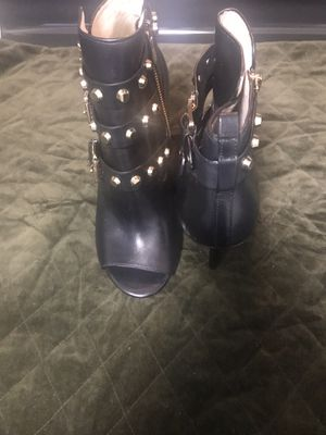 Black & Gold, Michael Kors, zippered open toe ankle boots for Sale in Dania Beach, FL