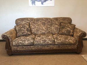 Brown Couch With Wood frame and Throw Pillows for Sale in Denver, CO