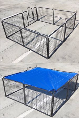 Brand new 24 inch tall x 32 inches wide each panel x 8 panels heavy duty exercise playpen with sun shade tarp cover fence safety gate dog cage crate for Sale in Whittier, CA