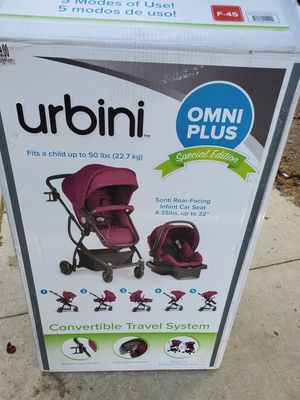 Urbini omni plus travel system new stroller $160 or trade for 16 enfamil cans for Sale in Perris, CA